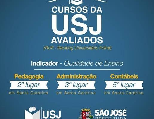 USJ: Entre as melhores de SC no quesito Qualidade de Ensino
